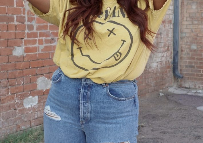 nirvana graphic tee and denim from urban outfitters